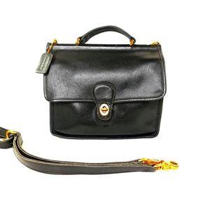 Coach Vintage Purse WILLIS Bag Black Leather Handb